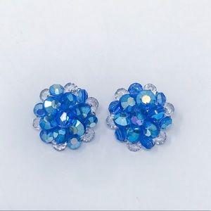 Blue Mid Century Cluster Clip On Earrings
